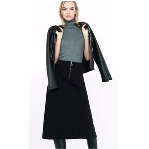 EXPRESS Black High Waisted A-line Midi Skirt sz 2